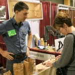 Kari Hultman checking out the new hammers from tools for working wood.